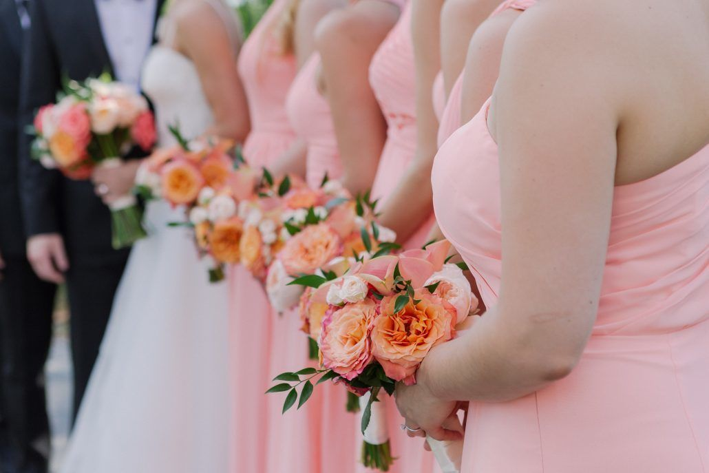 Kate & Alex - Juliet Rose Sunset Rose Coral Peony Mini Calla Spray Rose Bouquet - Battery Gardens - by Susan Shek Photography