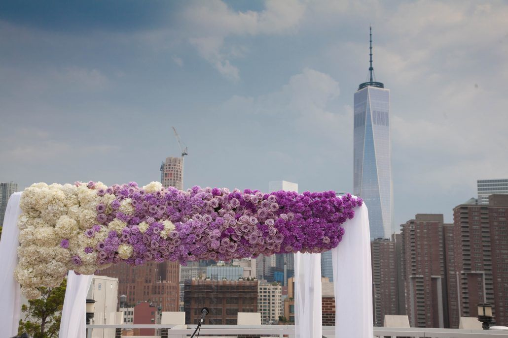 Nicole & Mark Wedding - Ombre Chuppah - Lavender Ocean Song Rose Purple Cool Water Rose Lavender Purple Carnation White Hydrangea - Tribeca Rooftop - by Shlomo Cohen Photography