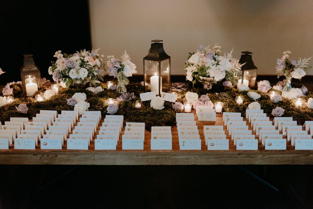 Stephanie & Mike Wedding - Card Table - Juliet Garden Ocean Song Spray Rose Hydrangea Stock Sweet Pea Astilbe Moss Succulent - Blue Hill at Stone Barns - Photography by Golden Hour Studio