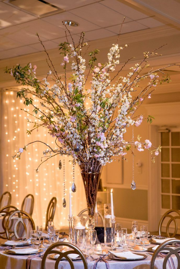 Danielle & Noah - Cold Spring Country Club NY - High Centerpiece - Cherry Blossoms - Photography by Brett Matthews