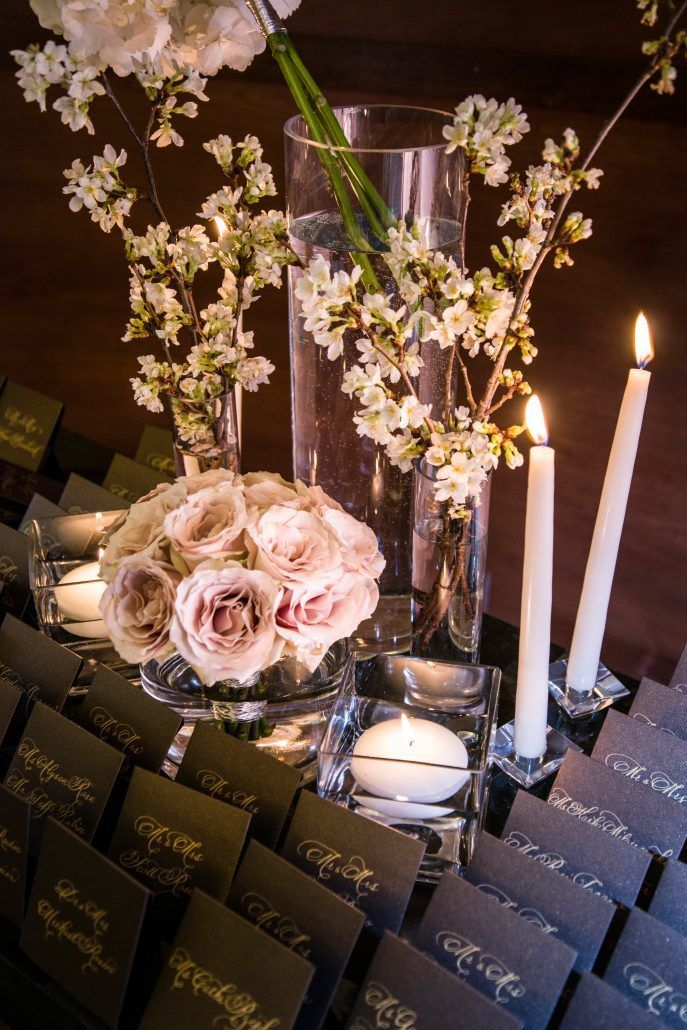 Danielle & Noah Wedding - Card Table - Roses Cherry Blossom Branches - Cold Spring Country Club NY - Photography by Brett Matthews