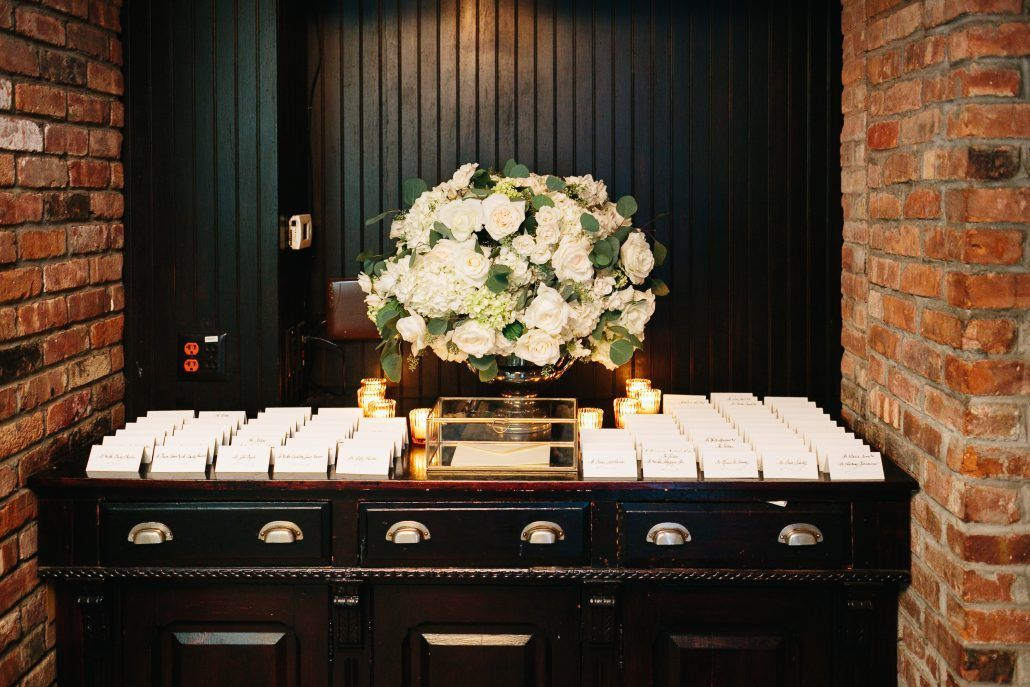 Courtney & Quinton Wedding - Card Table - Centerpiece - Roses Hydrangea Eucalyptus - The Bowery Hotel - Photography by Chad Cruz