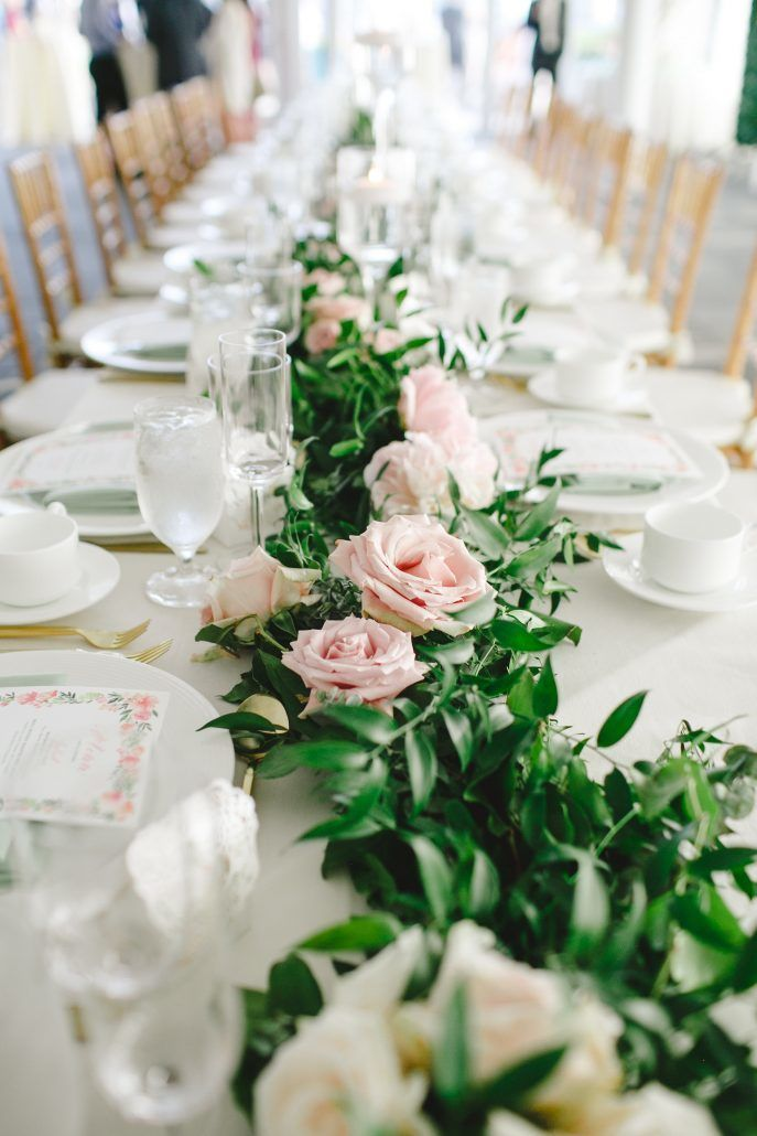 Mary & Galen Wedding - Garland - Tablescape Greenery - Blush Flowers - Hudson Hotel NYC - Photography by Jac and Thom