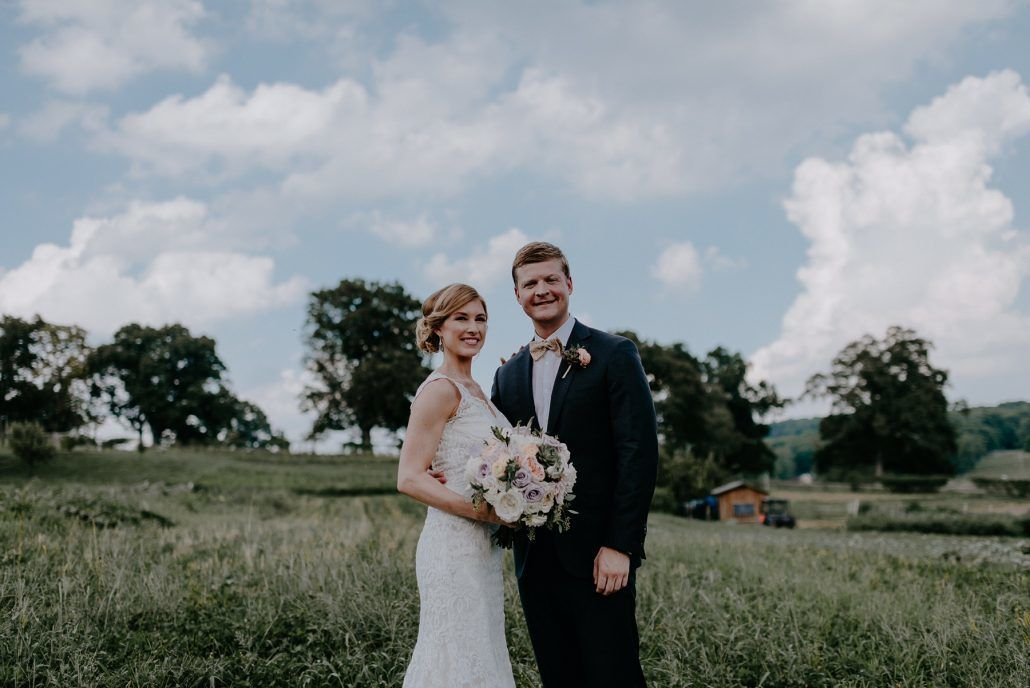 Stephanie & Mike Wedding - Bride and Groom - Bouquet - Field - Blue Hill at Stone Barns - Photography by Golden Hour Studio
