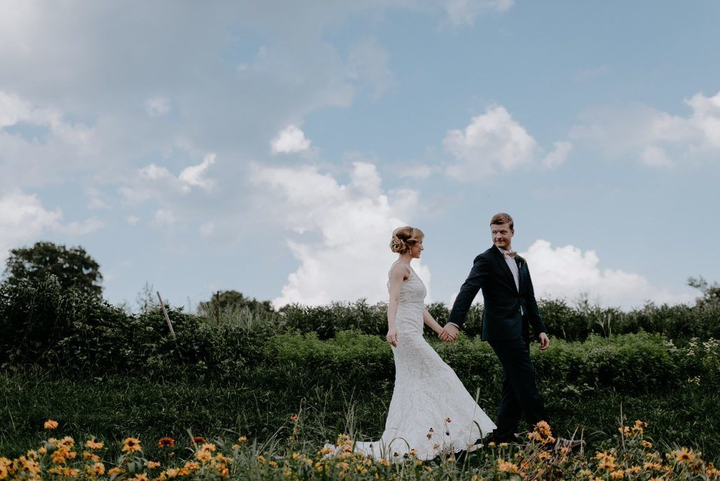 Stephanie & Mike Wedding - Bride and Groom - Field - Blue Hill at Stone Barns - Photography by Golden Hour Studio