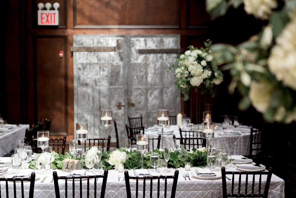Aerin and Steven Wedding - Table Garland - 26 Bridge Brooklyn - Susan Shek Photography
