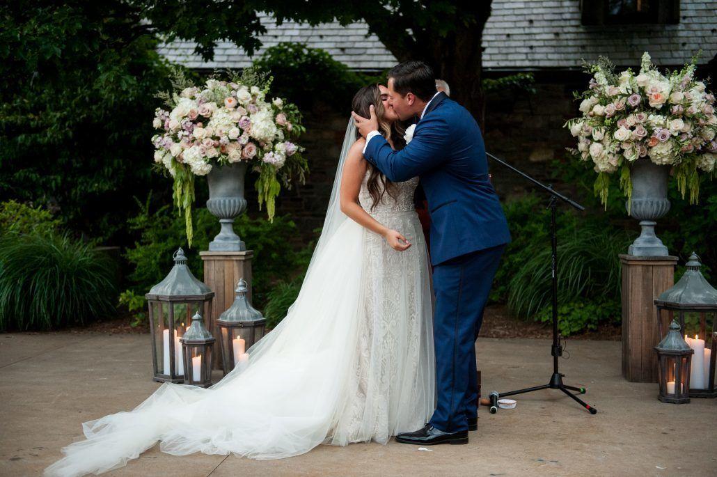 Lauren and Jordan Wedding - Bride and Groom First Kiss - Blue Hill at Stone Barns NY - Photography by Craig Paulson