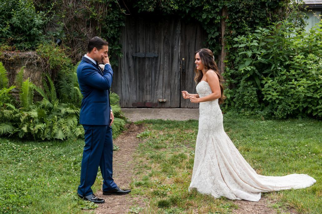 Lauren and Jordan Wedding - Bride and Groom First Look - Blue Hill at Stone Barns NY - Photography by Craig Paulson