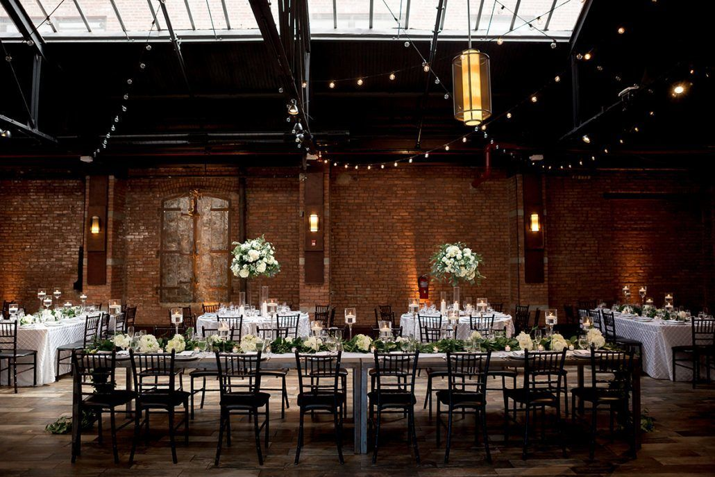 Aerin and Steven Wedding - High Centerpieces and Garlands - 26 Bridge Brooklyn - Photography by Susan Shek