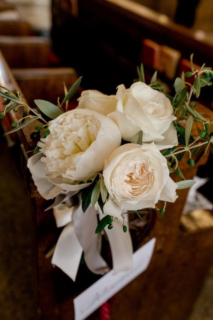 Aerin and Steven Wedding - Pew Arrangements - Holy Trinity Church Manhattan - Susan Shek Photography
