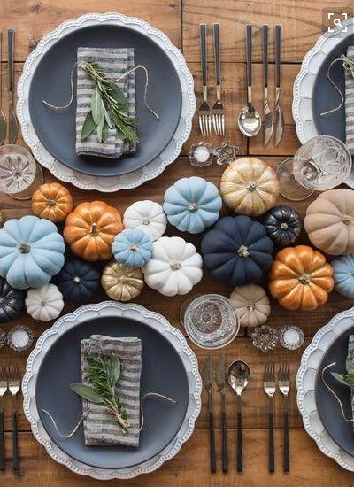 Pumpkin table arrangement - via weddingideasmag.com