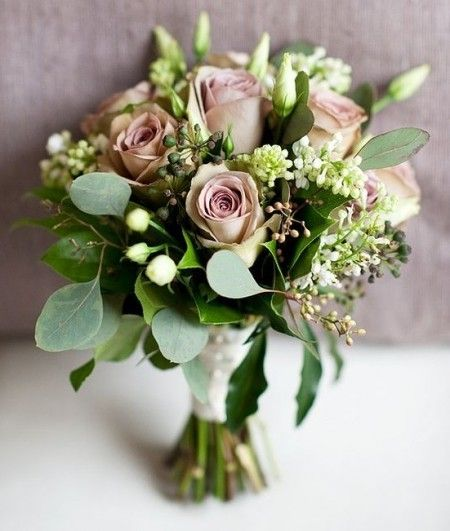 Amnesia Rose Bouquet Lisianthus Seeded Eucalyptus - via bouquet-bouquet.com