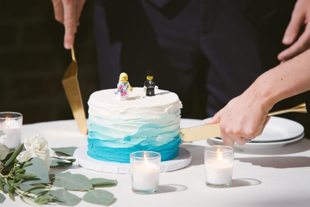 Christina & Derek Wedding - Wedding Cake with Lego Cake Topper by Mini Melanie - The Foundry LIC - Kevin Markland Photography