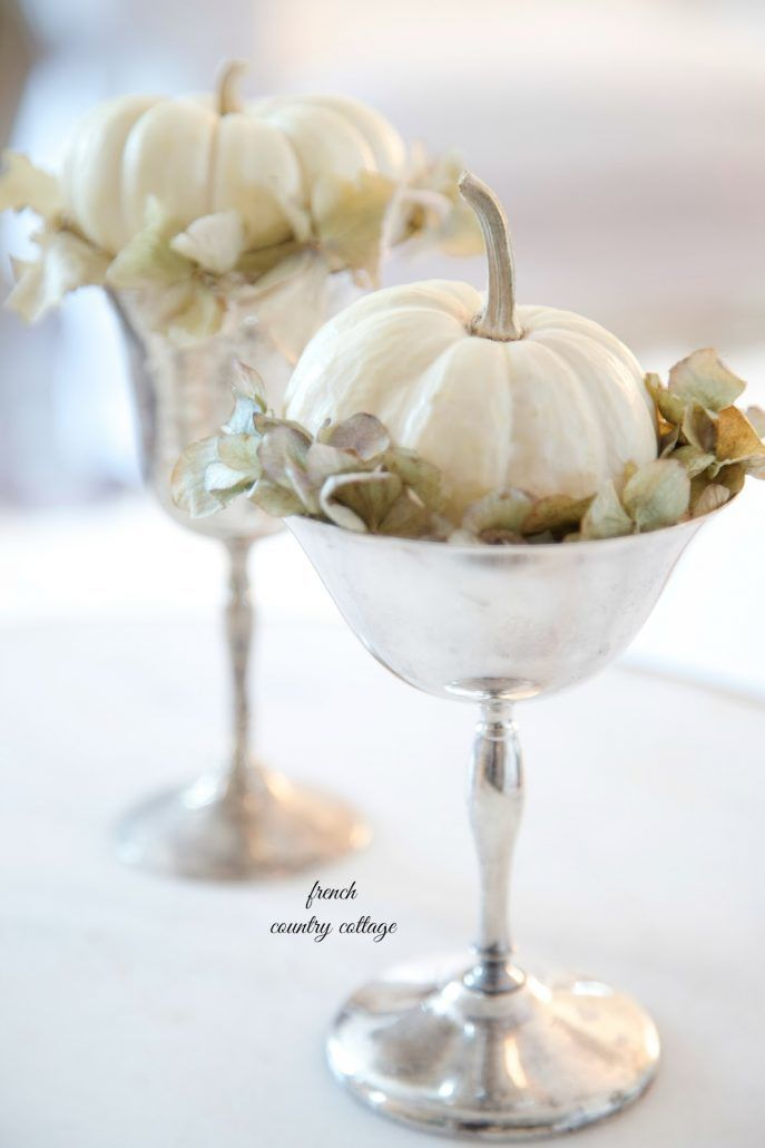 White Baby Pumpkins in Silver Goblets - via frenchcountrycottage.com