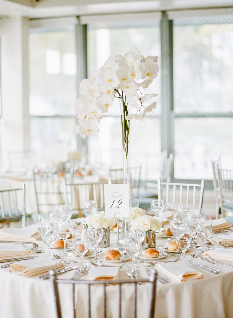 Jessica & Brian Wedding - High and Low Centerpiece - Battery Gardens NYC - by Rebecca Yale