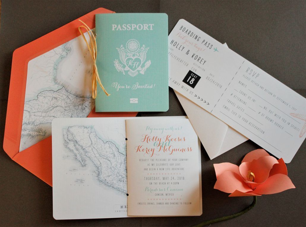 Passport and Boarding Pass Invitation - via katherineelizabethevents.com