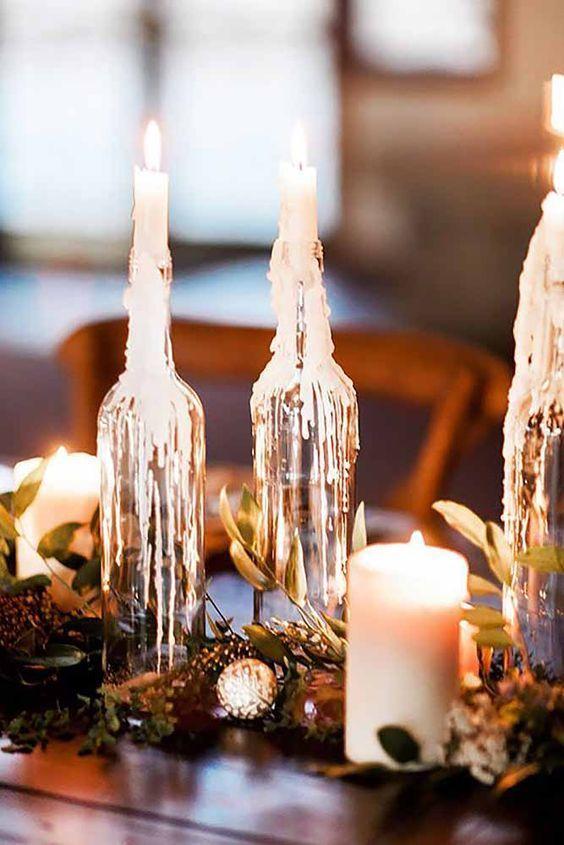 Rustic Arrangement with Candles - via weddinginclude.com