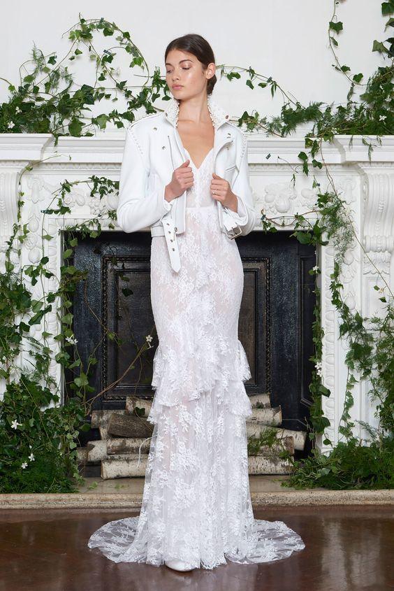 Dress and White Leather Jacket by Monique Lhuillier - via vogue.com