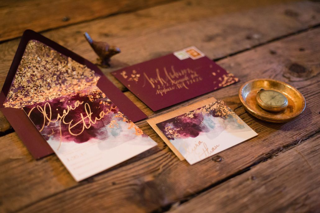 Burgundy Gold Wedding Invitation - via andrealeslieweddings.com