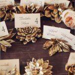 Gold Succulents Card Holders - via weddingsonline.com