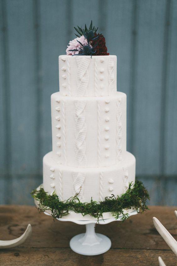 Fall White Wedding Cake - via obestdayever.com