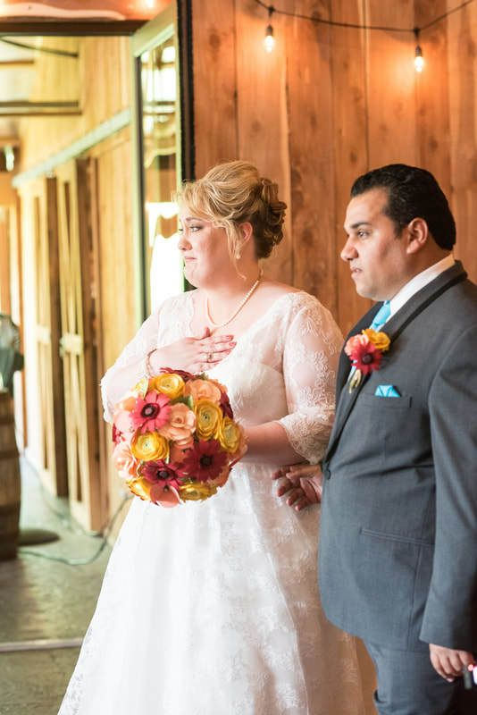 Bride with Bouquet and Groom with Boutonniere - via katherineelizabethevents.com