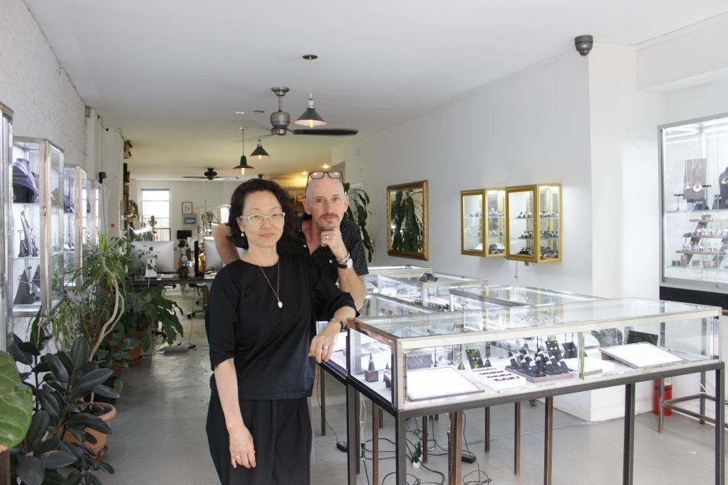 Michael and Hiroyo in the gallery at Fitzgerald Jewelry - via fitzgeraldjewelry.com