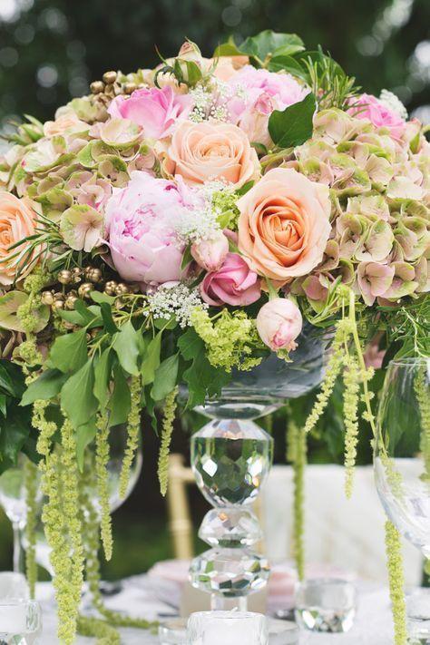 English Country Garden Wedding Decor - Centerpiece - via stylemepretty.com