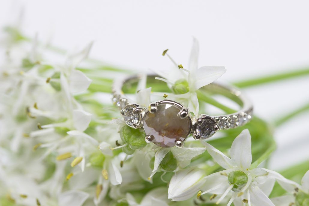 Bella Engagement Ring - rose cut rustic diamond with platinum band and reclaimed side stones - via fitzgeraldjewelry.com