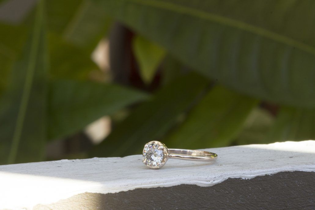 Cati Engagement Ring - platinum band with salt and pepper diamond - via fitzgeraldjewelry.com