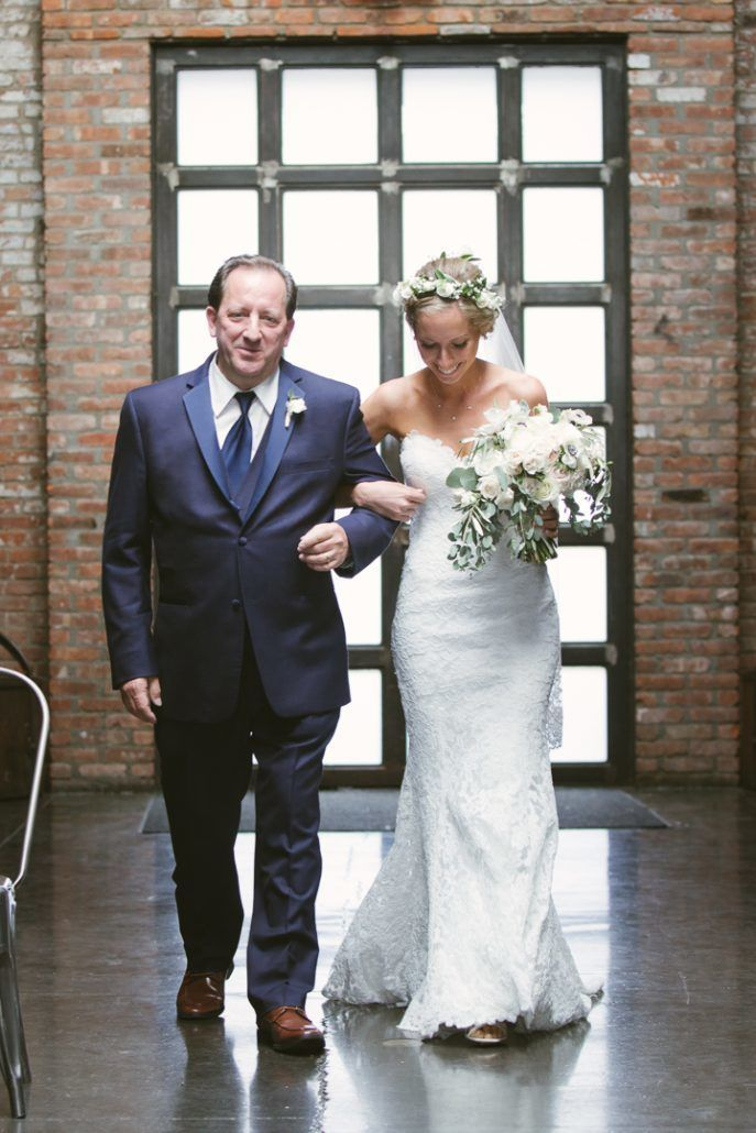 Christina & Derek Wedding - Bride and Father Walking Down Aisle - The Foundry LIC - Kevin Markland Photography