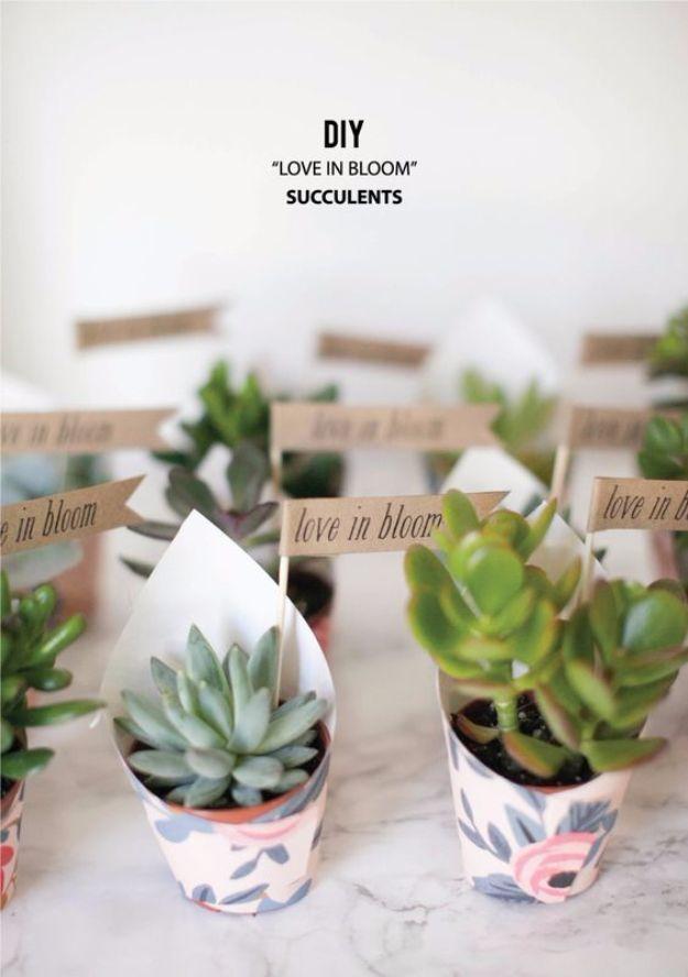 DIY Wedding Favors - Love in Bloom Succulents - via stylemepretty.com