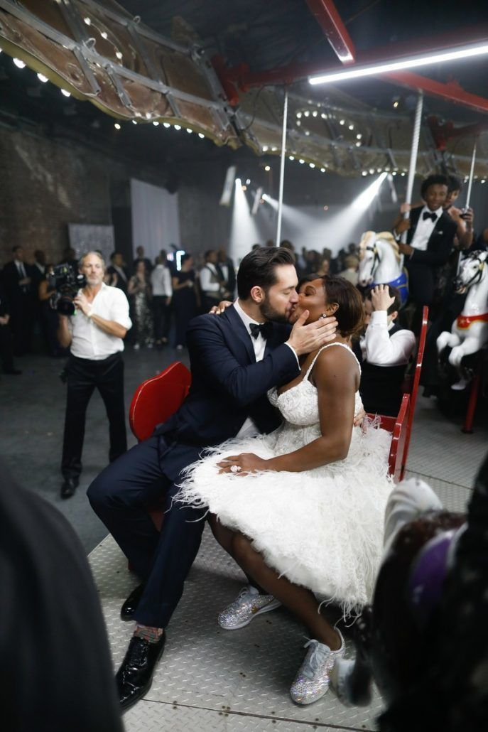 Serena Williams and Alexis Oharian - Wedding - Kiss - via brides.com