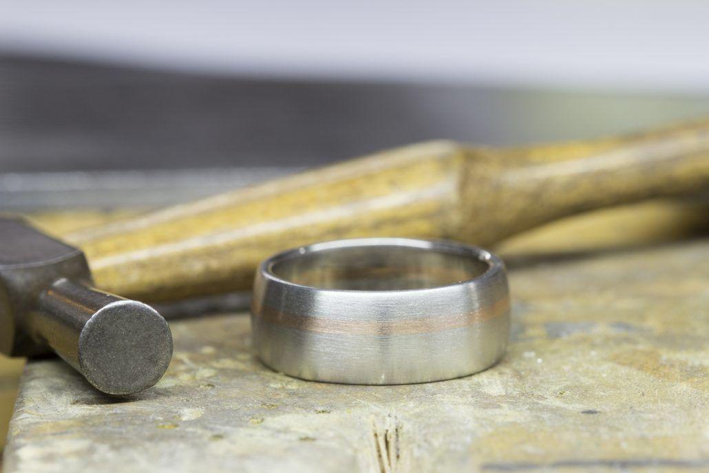 Men's Wedding Band - palladium with 14k rose gold - via fitzgeraldjewelry.com
