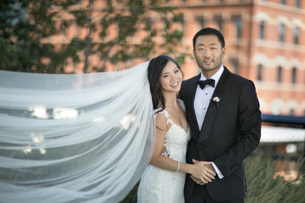 Sophia & Sam Wedding - Bride and Groom Portrait - Tribeca 360 NYC - by Shira Weinberger