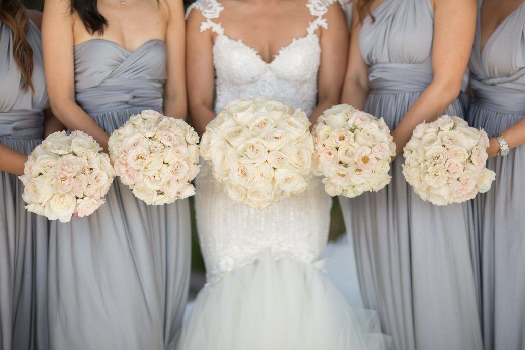 Sophia & Sam Wedding - Bridesmaids Bouquet Ranunculus Miyuki Majolica Rose - Tribeca 360 NYC - by Shira Weinberger