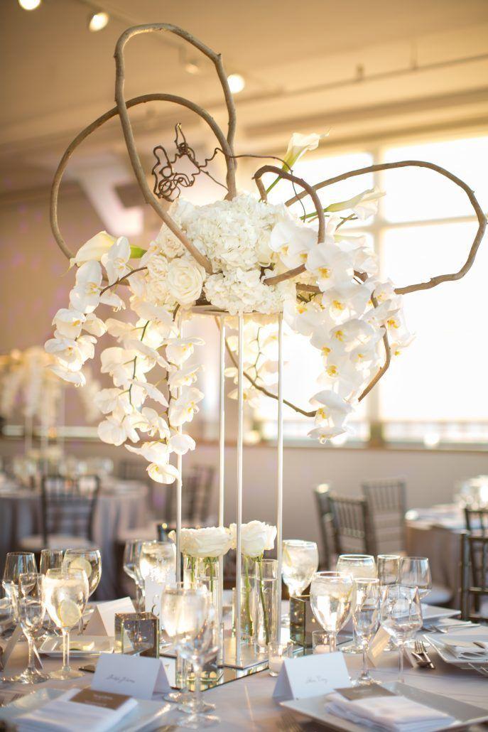 Sophia & Sam Wedding - High Centerpiece Calla Lily Hydrangea Kiwi Vine Phalaenopsis Orchid Garden Spray Rose Wisteria - Tribeca 360 NYC - by Shira Weinberger