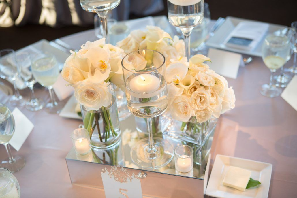 Sophia & Sam Wedding - Low Centerpiece Calla Lily Phalaenopsis Orchid Ranunculus Garden Majolica Rose - Tribeca 360 NYC - by Shira Weinberger