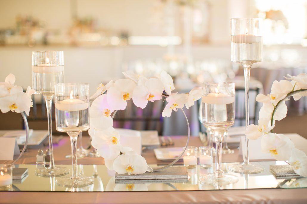 Sophia & Sam Wedding - Low Centerpiece Silver Ring with Phalaenopsis Orchid - Tribeca 360 NYC - by Shira Weinberger