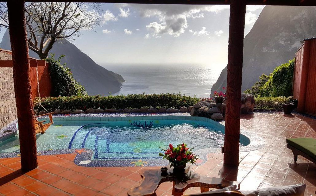 St. Lucia - Ladera - View of Pitons - via farandaway.us