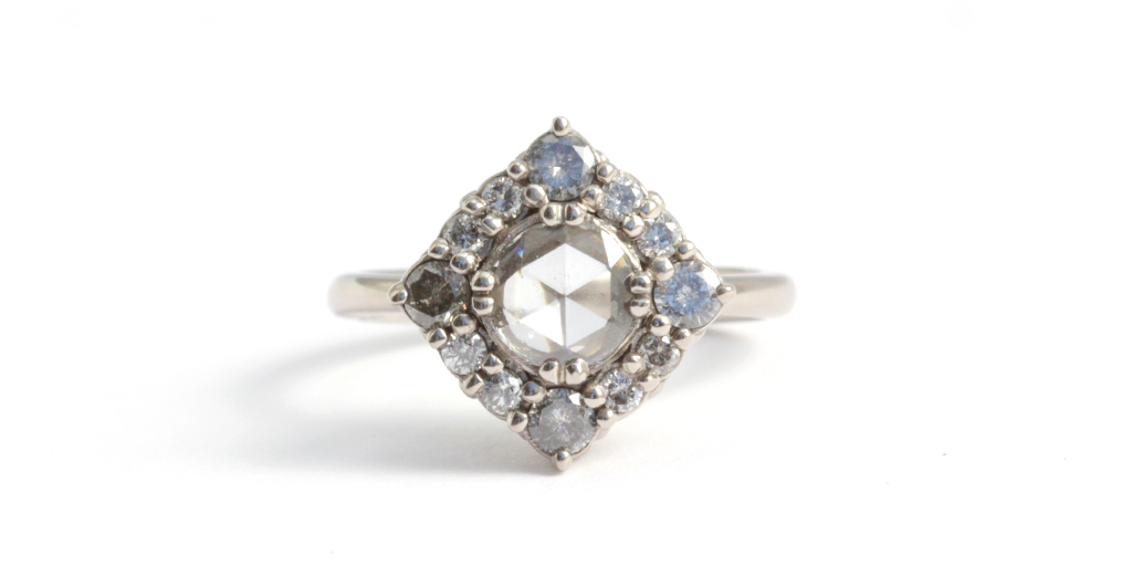 Cathedral Engagement Ring - diamonds mounted in 18k palladium - via fitzgeraldjewelry.com