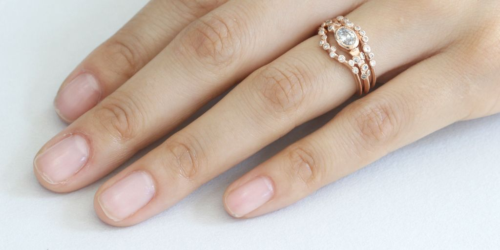 Melee Rings - 14k rose gold with white diamonds - via fitzgeraldjewelry.com