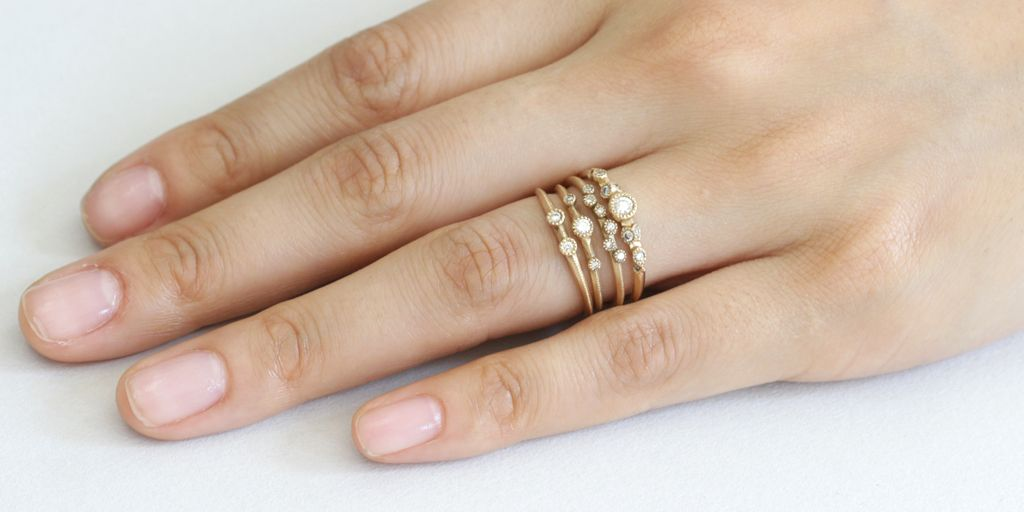 Melee Rings - 18k yellow gold with white diamonds - via fitzgeraldjewelry.com