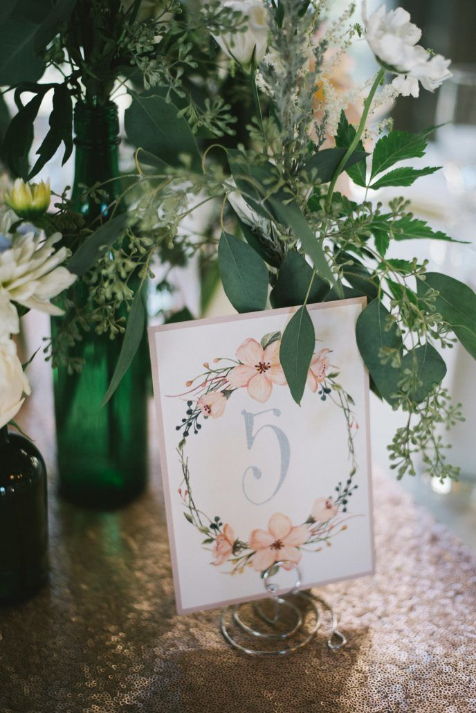 Alison & Sean Wedding - Centerpiece with Table Number - Old Field Club - by Paul Francis Photography
