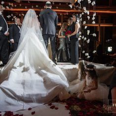Marianna and Peter Wedding - Floating Chuppah Hydrangea Cymbidium Orchid - Mandarin Oriental New York - by Fred Marcus Studio