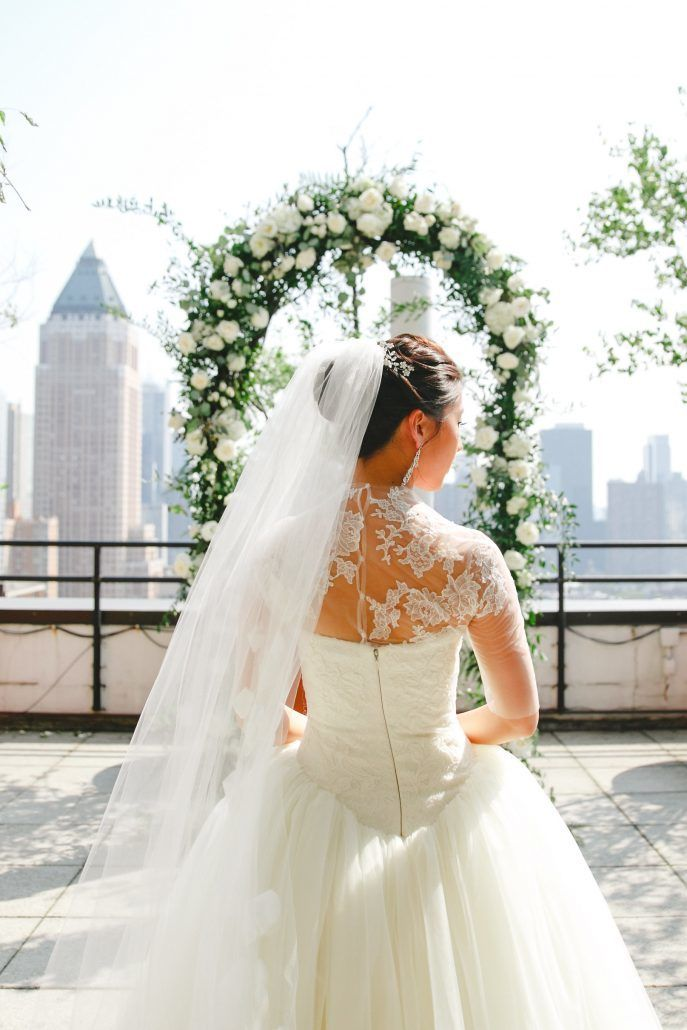 Mary & Galen Wedding - Ceremony Arch Greenery and White Flowers - The Hudson Hotel NYC - Photography by Jac and Thom