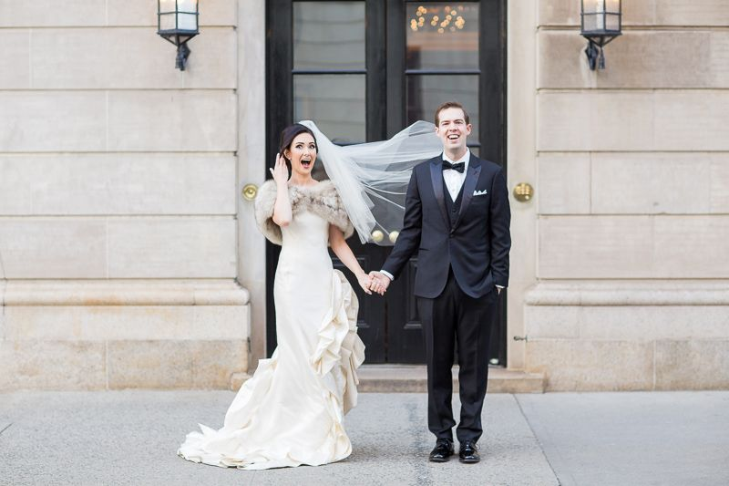 Winter Wedding Photos NYC - Wind Blown Veil - via kelseycombe.com