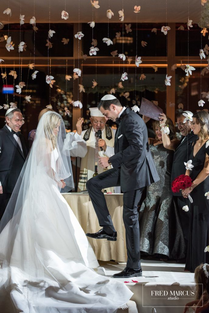 Marianna and Peter Wedding - Ceremony Breaking the Glass - Mandarin Oriental New York - Fred Marcus Studio