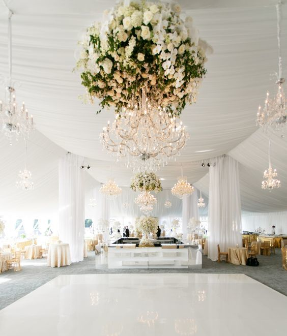 Crystal Floral Chandelier - Photo by Allan Zepeda - via munaluchibridal.com