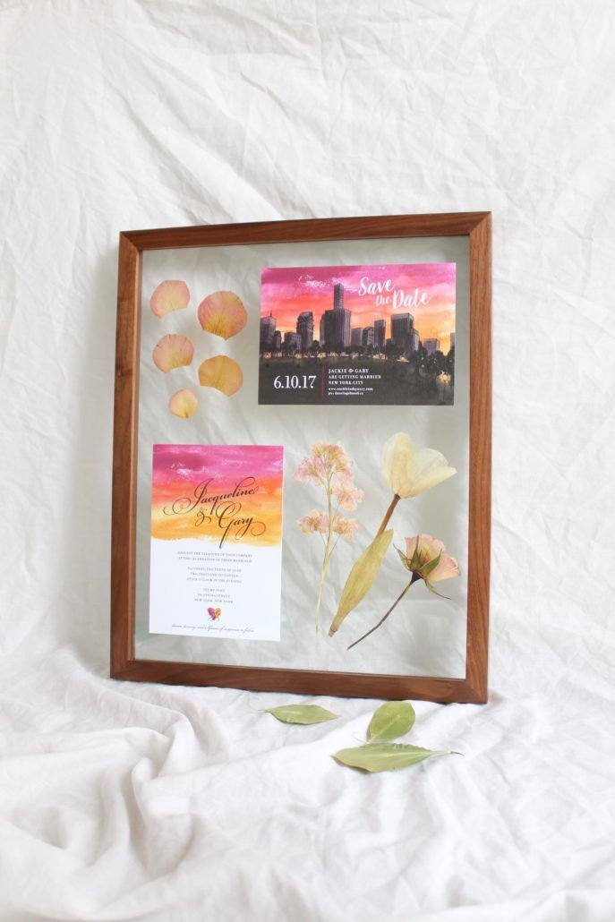 Framed Florals - custom designed work with wedding flowers and invitation - courtesy of artist